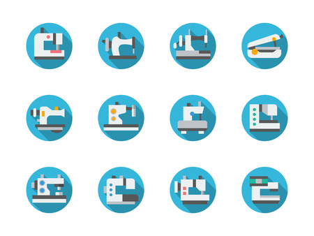 garment industry: Garment industry. Sewing equipment, machines, overlock. Tailoring and embroidery. Set of flat color round vector icons. Element for web design, business, mobile app.