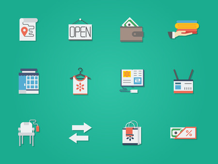 web store: Pawnshop, commission shop, second-hand objects store. E-commerce. Online store for used goods. Shopping buttons. Set of flat color round vector icons. Element for web design, business, mobile app.