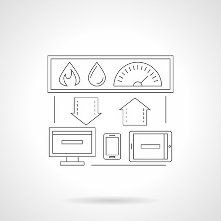 centralized: Smart house technology system. Centralized control of heating, water. Computer devices and house connection. Single detailed flat line vector icon. Web design elements for business, site, mobile app.