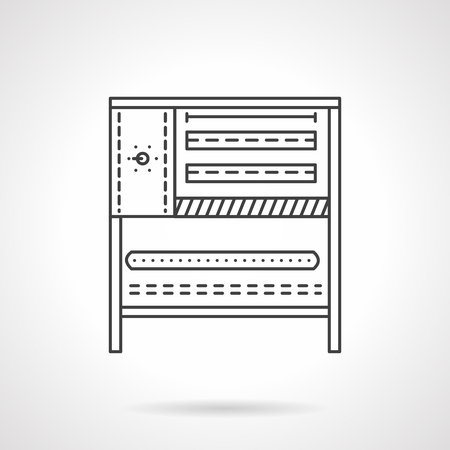 commercial kitchen: Bakery equipment. Oven and stove. Commercial kitchen. Vector icon flat thin line style. Element for web design, business, mobile app. Illustration