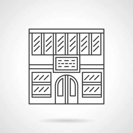 frontage: Commercial and educational buildings. Library facade. Vector icon flat thin line style. Element for web design, business, mobile app.
