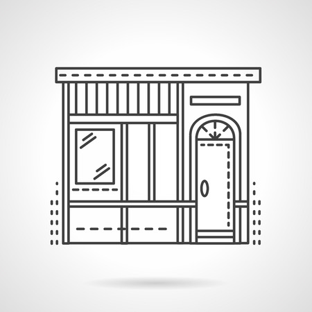 storefronts: Facade of a bakery shop. Storefronts and showcases. Vector icon flat thin line style. Element for web design, business, mobile app.