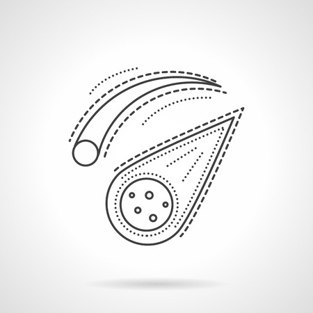 meteorites: Meteorites and comets. Space bodies. Space research. Science and education. Vector icon flat thin line style. Element for web design, business, mobile app.