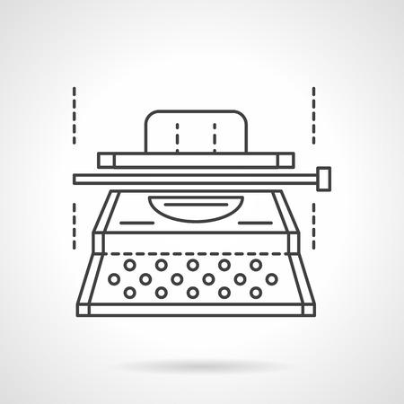 typescript: Writer equipment. Typescript machine. Copywriting. Vector icon flat thin line style. Element for web design, business, mobile app.