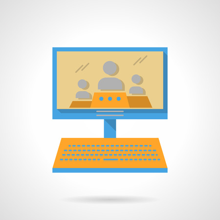 three persons: Computer monitor with three persons. Webinars. Online lecture. Distance education. Vector icon flat color style. Web design element for site, mobile and business. Illustration