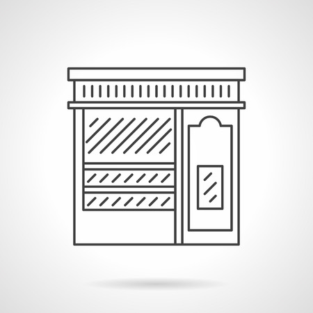 Storefronts and showcases. Pastry shop. Commercial buildings facade. Vector icon flat thin line style. Element for web design, business, mobile app.