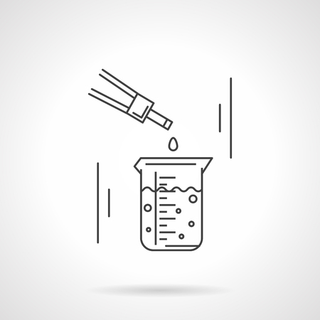 a solution tube: Measurement flask with liquid and dropper. Laboratory research and tests. Science and education. Chemistry, biology, medicine. Vector icon flat line. Element for web design, business, mobile app.