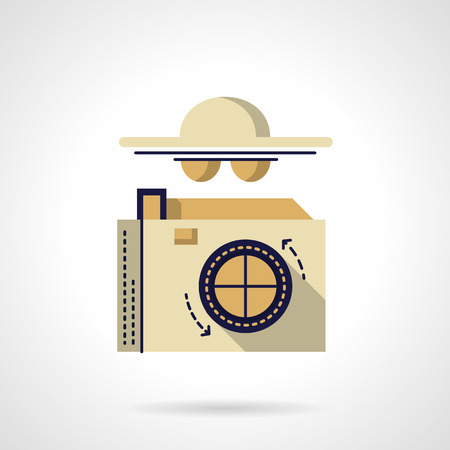 reporters: Photo camera and abstract person with hat and glasses. Detective symbol. Spy and reporters. Vector icon flat color style. Web design element for site, mobile and business. Illustration
