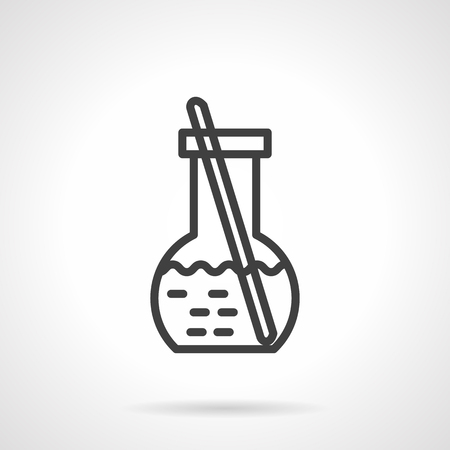 hypothesis: Laboratory flask with liquid and stick. Chemical, biology and medicine research. Science and education. Vector icon simple black line style. Single design element for website, business.