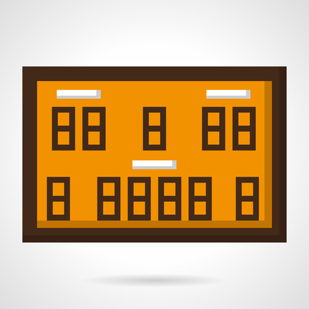 game time: Orange scoreboard with brown elements for basketball game or competition. Time place, home and guest. Vector icon flat color style. Web design element for site, mobile and business.