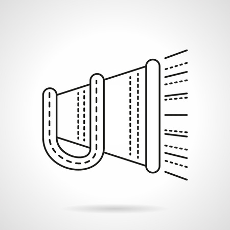 announcing: Megaphone with handle and abstract sound. Promotion and advertisement. Digital marketing. Announcing. Vector icon flat thin line style. Element for web design, business, mobile app. Illustration