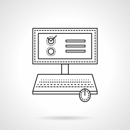 web survey: Computer or laptop with voting web page or application. Online vote. Web survey. Vector icon flat thin line style. Element for web design, business, mobile app.