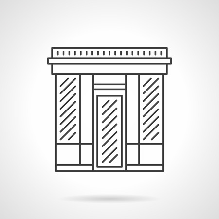 storefronts: Abstract facade of textile shop. Commercial buildings. Storefronts and showcases. Vector icon flat thin line style. Element for web design, business, mobile app.