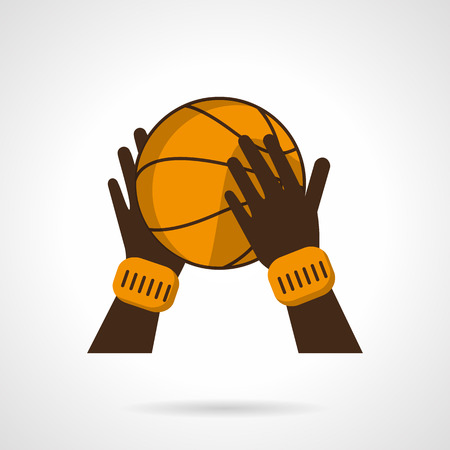 wristbands: Bright orange basketball ball in brown hands with orange wristbands. Basketball game. Sport symbols. Vector icon flat color style. Web design element for site, mobile and business.