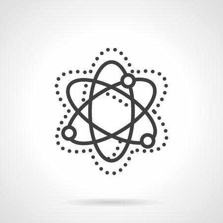 positron: Abstract simple model of particle move and interaction. Physics sign. Science and education theme. Vector icon simple black line style. Single design element for website, business.