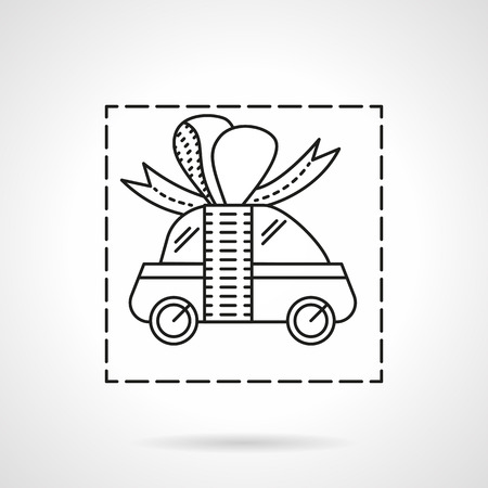 Small car with ribbon bow. Car prize. Automobile for gift. Car insurance. Advertising campaign and sale vehicles. Vector icon flat thin line style. Element for web design, business, mobile app.