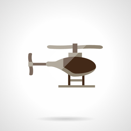 helicopter rescue: Brown single helicopter. Military UAV. Rescue helicopter. Aircraft vehicles. Vector icon flat color style. Web design element for site, mobile and business.