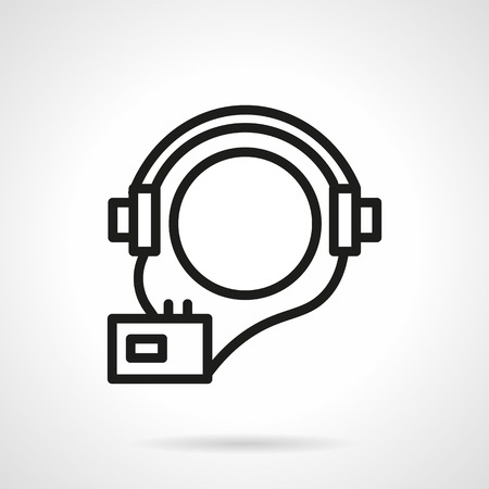 audio book: Ball shaped abstract head with headphones and player. Audio courses symbol. Audio book. Vector icon simple black line style. Single design element for website, business.