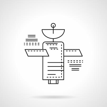 Navigation, Kommunikation oder meteorologische künstlichen Erdsatelliten. Raumfahrttechnik. Vector-Symbol flache, dünne Linie Stil. Element für Web-Design, Business, mobile App.