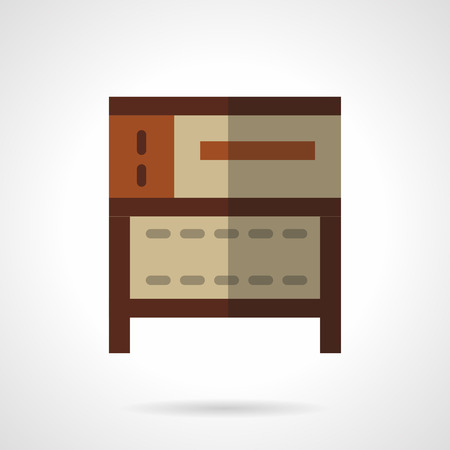 domestic kitchen: Bakery equipment for commercial and domestic kitchen. Oven and stoves. Brown oven for cakes. Vector icon flat color style. Web design element for site, mobile and business.