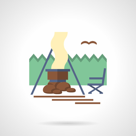 lifestyle outdoors: Outdoors rest. Forest camping with dinner on a campfire. Activity lifestyle. Vector icon flat color style. Web design element for site, mobile and business.