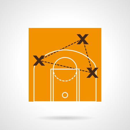 strategic position: Strategy of basketball game. Players position points. Trainers tactic board. Vector icon flat color style. Web design element for site, mobile and business.
