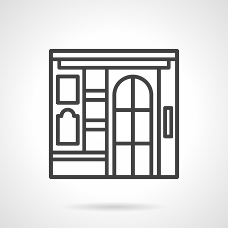 storefronts: Front view of a cinema building. Commercial buildings facade. Storefronts and showcases theme. Vector icon simple black line style. Single design element for website, business. Illustration
