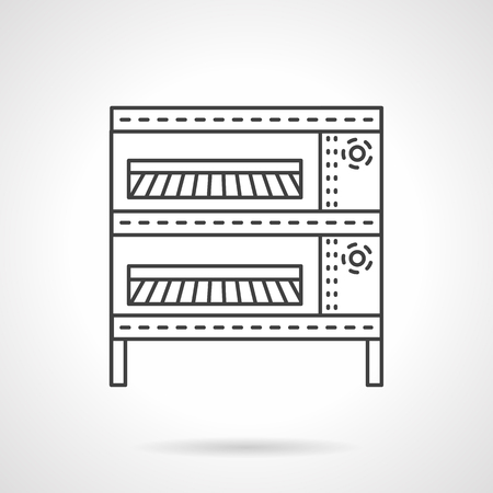 commercial equipment: Bakery oven for buns making with two levels. Commercial and home equipment and appliances. Vector icon flat thin line style. Element for web design, business, mobile app.