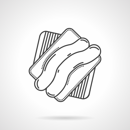 bakery price: Sweet creamy striped biscuit cookie. Desserts menu for cafe, sweet shop, pastry. Vector icon flat thin line style. Element for web design, business, mobile app.