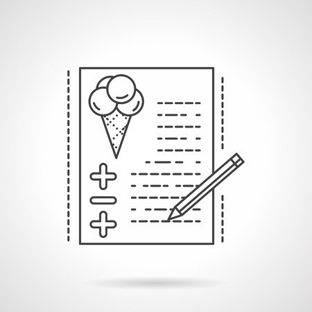 business event: Paper with checklist balloons symbol and pencil. Organization of festive events, wedding, birthday party. Event agency services. Vector icon flat line. Element for web design, business, mobile app. Illustration
