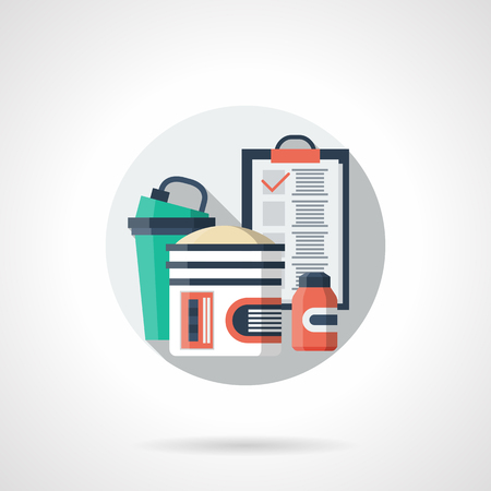 regime: Note of diet and training program. Sport regime. Workout and fitness diary. Healthy lifestyle theme. Round single detailed flat color vector icon. Web design elements for business, site, mobile app. Illustration