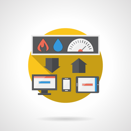 temperature controller: Computer gadgets to remote control home temperature, water and power. Home automation system. Smart home. Flat color style detailed single vector icon. Design element for website, mobile, business. Illustration