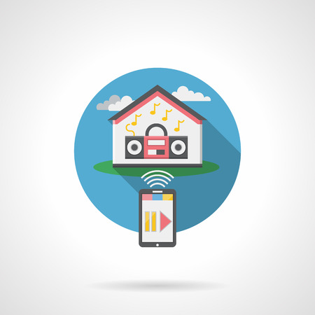 automatic doors: Home automation audio system. Remote control of household appliances. Smart house concept. Flat color style detailed single vector icon. Design element for website, mobile, business.