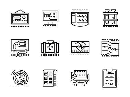 cardiac care: Medical diagnosis and treatment theme. Cardiology clinic elements. Cardiac care. Collection of black line style vector icons. Elements for web design and mobile.