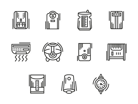 humidifier: Heating, ventilation and conditioning equipment. Humidifier and dehumidifier, air ionization. Home and office climate. Collection of black line style vector icons. Elements for web design and mobile. Illustration