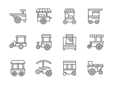 food market: Street retail and wheel market. Trade cart. Street food kiosk and trolley. Collection of black line style vector icons. Elements for web design and mobile. Illustration