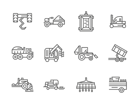 farm machinery: Agricultural transport. Farm machinery. Harvester vehicles. Collection of black line style vector icons. Elements for web design and mobile.