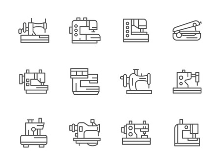 dressmaking: Tailor equipment. Sewing and stitching machinery. Dressmaking industry. Collection of black simple line style vector icons. Elements for web design and mobile.