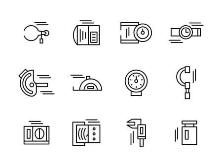 quantities: Objects and tools for measurement a variety of physical and mechanical quantities. Metrology and engineering.  Collection of black simple line style vector icons. Elements for web design and mobile.