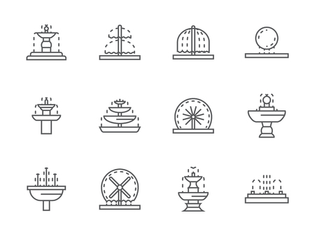 gush: Different types of decorative fountains. Park and gardens small architecture. Outdoors and interior decor elements. Collection of black simple line vector icons. Elements for web design and mobile.