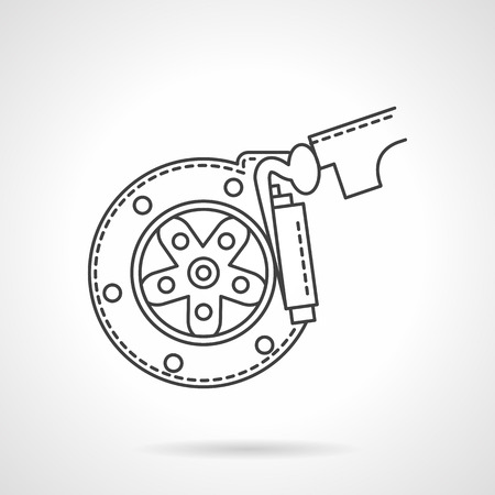 brake pad: Automobile braking system. Wheel disk with brake pads. Repair service for car and spare parts. Flat line style vector icon. Single design element for website, business.