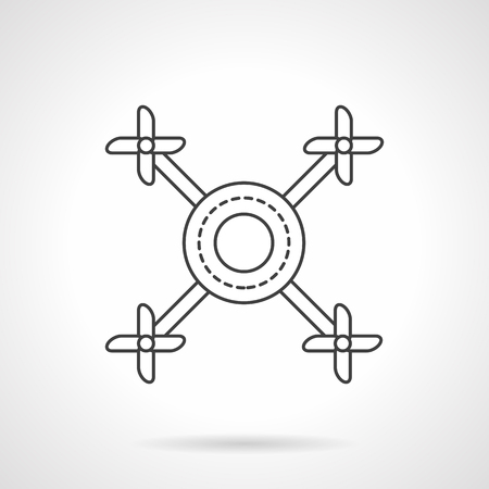 remote view: Abstract drone a top view. Remote control air mobile vehicles. UAV. Flat line style vector icon. Single design element for website, business. Illustration
