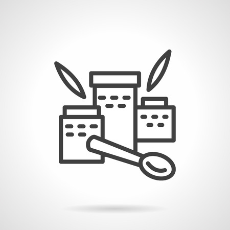 simple meal: Three jars with nutritional supplements. Leaves and spoon. Organic food. Baby meal. Simple black line vector icon. Single element for web design, mobile app.