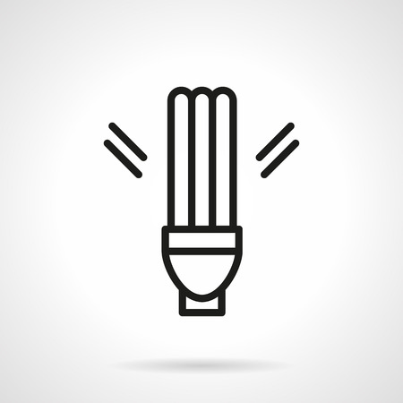 luminary: Sign of fluorescent lamp. Energy saving lamp. Modern saving energy and eco-friendly technology. Simple black line vector icon. Single element for web design, mobile app.