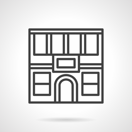 City commercial buildings. Facade of two-story restaurant with arch doors. Storefronts theme. Simple black line vector icon. Single element for web design, mobile app. Illustration