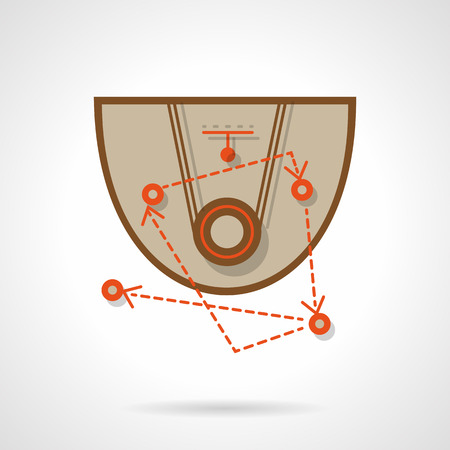 Abstract scheme of basketball game strategy. Sport training. Field with positions. Flat color style vector icon. Web design element for site, mobile and business.