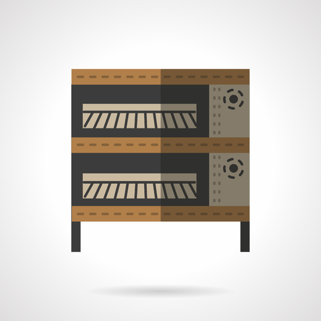 commercial kitchen: Baking equipment for commercial and domestic kitchen, restaurants and bakery. Oven and stoves theme. Flat color style vector icon. Web design element for site, mobile and business.