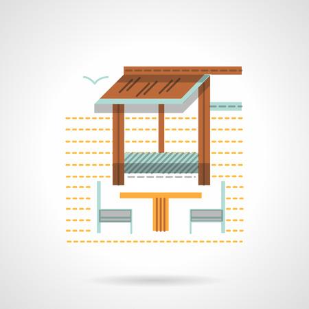 Openlucht cafe met tafels en stoelen achter een luifel. Cafe en bungalow thema. Kleine constructies voor park, strand, tuin. Flat kleur vector icon. Web design element voor de website, mobiel en het bedrijfsleven. Stock Illustratie