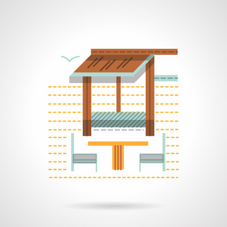 patio deck: Outdoors cafe with table and chairs behind an awning. Cafe and bungalow theme. Small constructions for park, beach, garden. Flat color vector icon. Web design element for site, mobile and business.