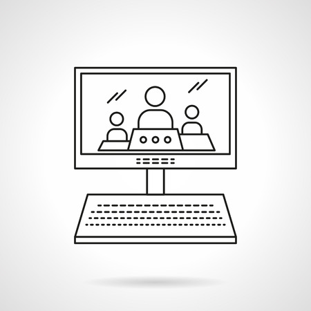 three persons: Computer monitor with imaging of three persons. Online lecture, webinar. Distance education theme. Educational technology. Flat line style vector icon. Single design element for website, business.